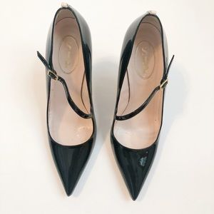 SJP Classic Black Patent Mary Jane Pointed Pumps